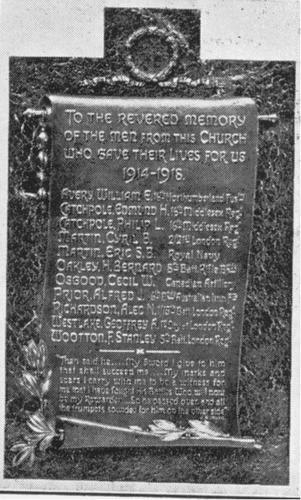 Burnt Ash Congregational Church WW1 War Memorial