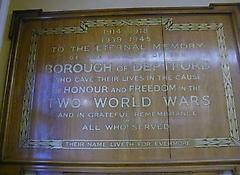 Deptford Town Hall WW1 and WW2 War Memorial