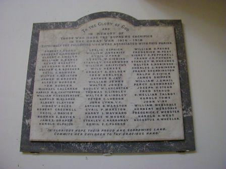Christ Church WW1 War Memorial