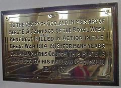 St Saviour (Sergeant E A Cannings) War Memorial