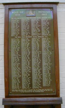 65th (8th London) and 118th Field Regiments (TA) WW2 War Memorial
