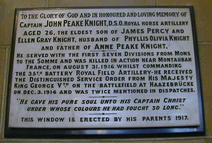 St Augustine Captain John Peake Knight, D.S.O. War Memorial