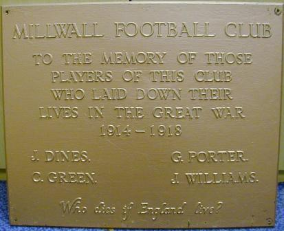 Millwall FC WW1 War Memorial