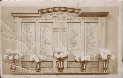 St Michael's and All Angels WW1 War Memorial