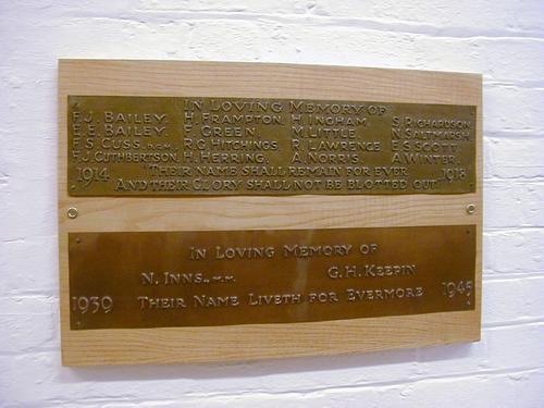 Sydenham Wesley Hall WW1 & WW2 War Memorial
